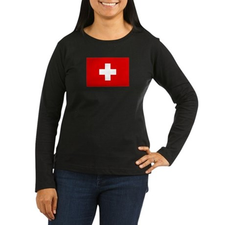 SWISS CROSS FLAG Women's Long Sleeve Dark T-Shirt