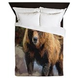 Camo Grizzly Bear Queen Duvet
