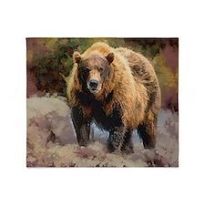 Camo Grizzly Bear Throw Blanket