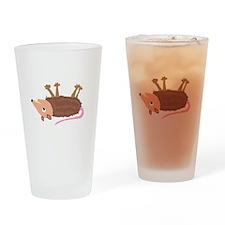 Funky Dead Possom Cartoon Drinking Glass