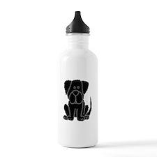 Black Newfoundland Dog Cartoon Water Bottle