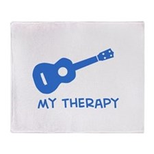 Ukelele my therapy Throw Blanket