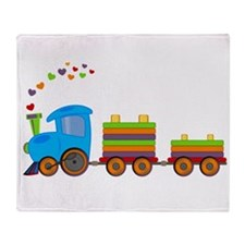 Colorful Toy Train Throw Blanket