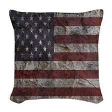 Cave Wall American Flag Woven Throw Pillow