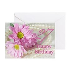 27th Birthday card with daisies Greeting Cards (Pk