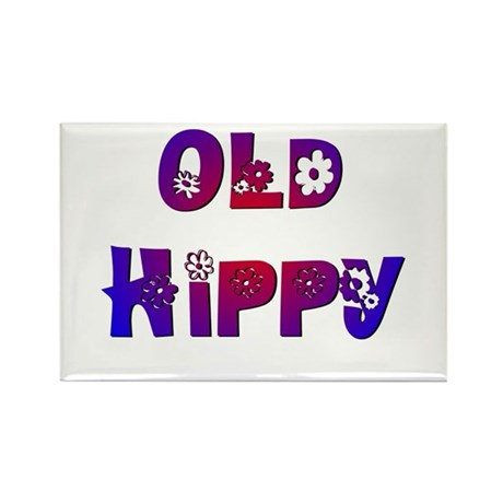 Old Hippy Rectangle Magnet (100 pack)