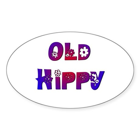 Old Hippy Oval Sticker