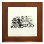 Poker Playing Cats Framed Tile