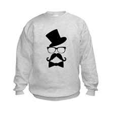 Funny Mustache Face With Top Hat Sweatshirt