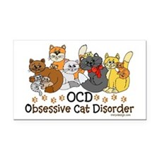 OCD Obsessive Cat Disorder Rectangle Car Magnet