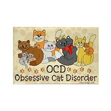 OCD Obsessive Cat Disorder Rectangle Magnet (10 pa