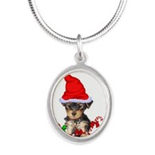Yorkshire Terrier Silver Oval Necklace