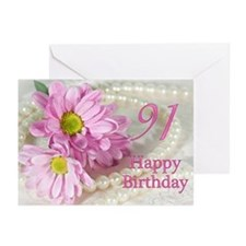 91st Birthday card with daisies Greeting Cards (Pk