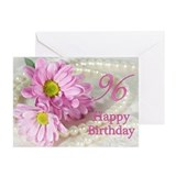96th Birthday card with daisies Greeting Cards (Pk