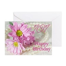 101st Birthday card with daisies Greeting Cards (P