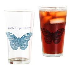 Faith, Hope, Love Aqua Butterfly Drinking Glass