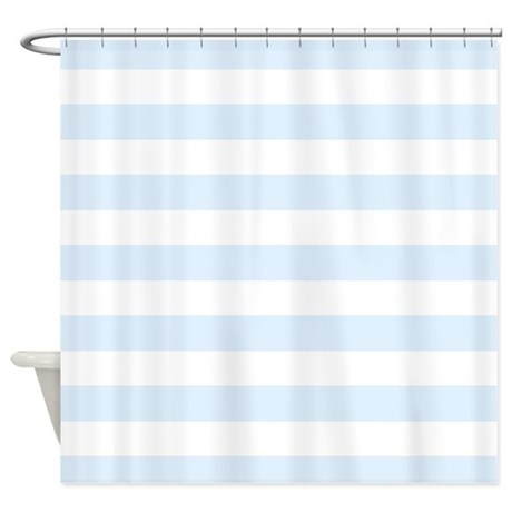 Light blue and white stripe shower curtain by for Blue and white striped bathroom accessories