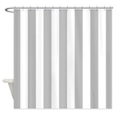 Gray and white vertical stripes Shower Curtain