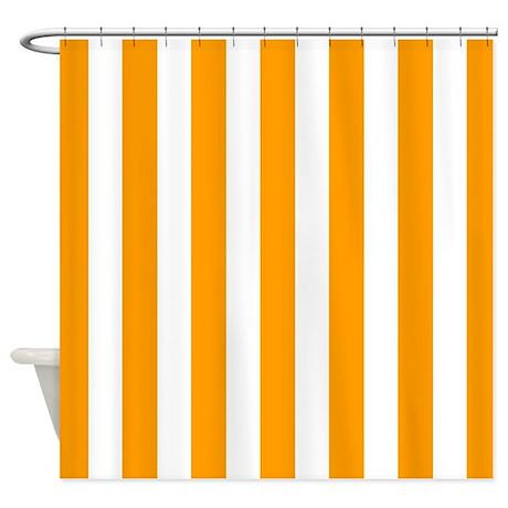 Bathroom d 233 cor gt orange and white vertical stripes shower curtain
