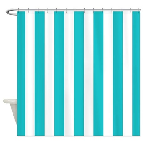 Teal blue and white stripes shower curtain by for Blue and white striped bathroom accessories