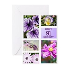 91st birthday lavender hues Greeting Cards (Pk of