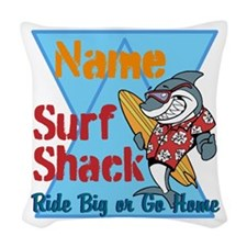 Custom surf shack Woven Throw Pillow