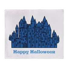Dark Blue Halloween Castle. Throw Blanket