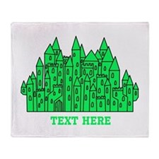 Green Castle and Text. Throw Blanket