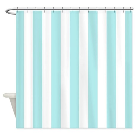 Mint blue and white vertical stripes shower curtai by for Blue and white striped bathroom accessories