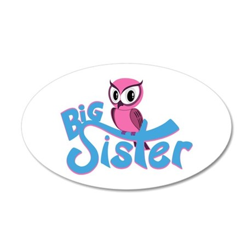 So Girly Owl Big Sister 35x21 Oval Wall Decal