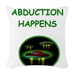 funny alien abduction ufo joke Woven Throw Pillow