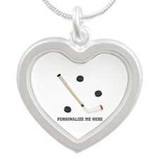 Personalized Hockey Silver Heart Necklace