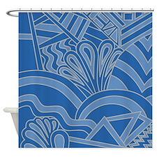 Blue Art Deco Style Pattern. Shower Curtain
