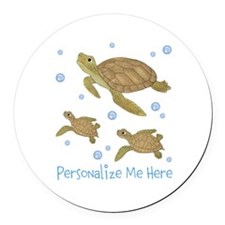 Personalized Sea Turtles Round Car Magnet