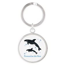 Personalized Killer Whale Round Keychain