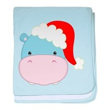 Cute Hippo With Santa Hat baby blanket