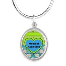 Medical Assistant Silver Oval Necklace