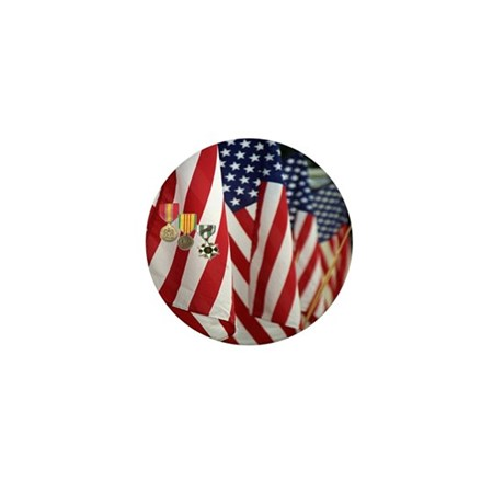 Flag and Medals Mini Button