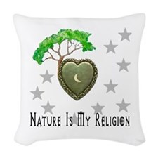 Nature Is My Religion Woven Throw Pillow
