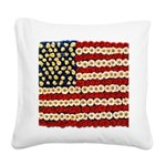 Flower Power US Banner Square Canvas Pillow