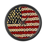 Flower Power US Banner Large Wall Clock