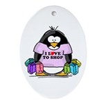 Love To Shop Penguin Oval Ornament