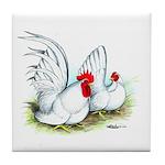 White Japanese Bantams Tile Coaster