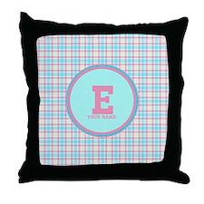 Monogram Pastel Plaid Throw Pillow