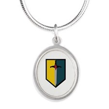Army - SSI - 1st MEB no Text Silver Oval Necklace