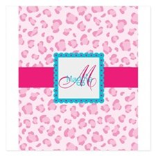 Girly Pink Monogram Flat Cards