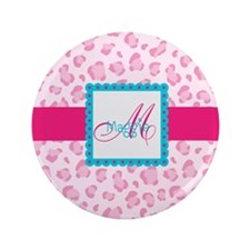 "Girly Pink Monogram 3.5"" Button (100 pack)"