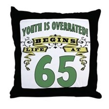 Life Begins At 65 Throw Pillow