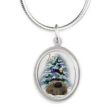 Pekingese Christmas Silver Oval Necklace