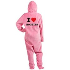 I Heart Boobies Footed Pajamas